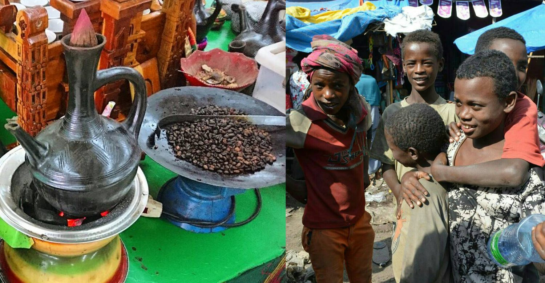 エチオピアのコーヒーセレモニーの様子