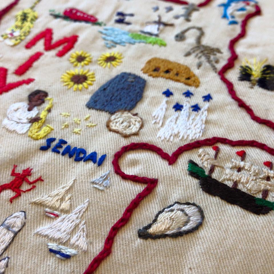 宮城のモチーフを手刺繍