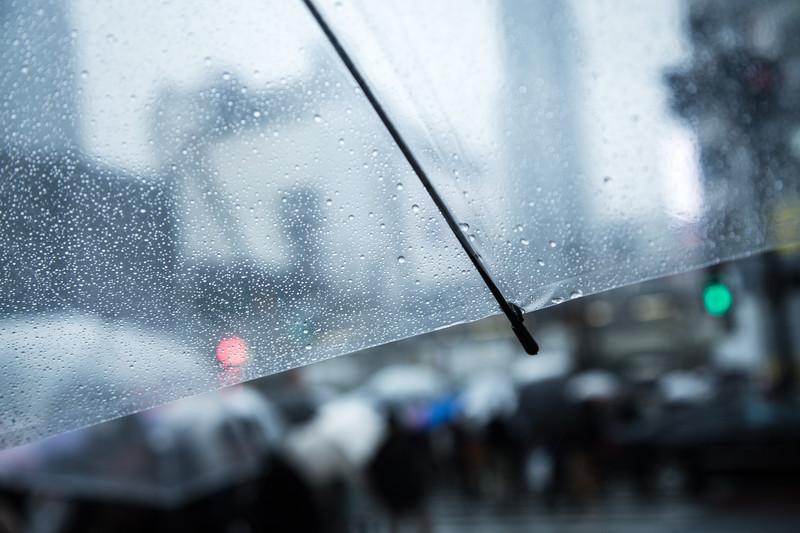 雨の中のビニール傘