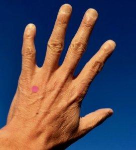 手の甲にあるツボ「中渚」
