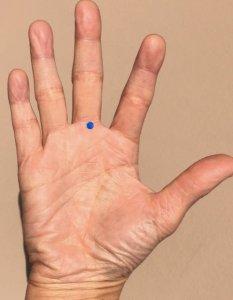 手に口内炎にきくツボ「口内点(こうないてん)」の場所を示した写真。行内点は中指と手の平の付け根、横シワの真ん中にある