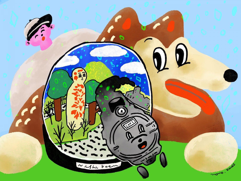 亀井桃さん描き下ろしのBGMカバーイラストは西公園をイメージ