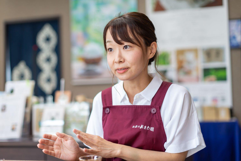 「若い世代にお茶の文化を通して宮城の良さを知ってほしい」と話すお茶のあさひ園の次女・朱夏さん