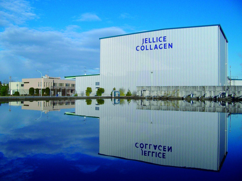 多賀城にあるゼライスの本社工場の外観。建物には青字で「JELLICE COLLAGEN」の文字が書かれている